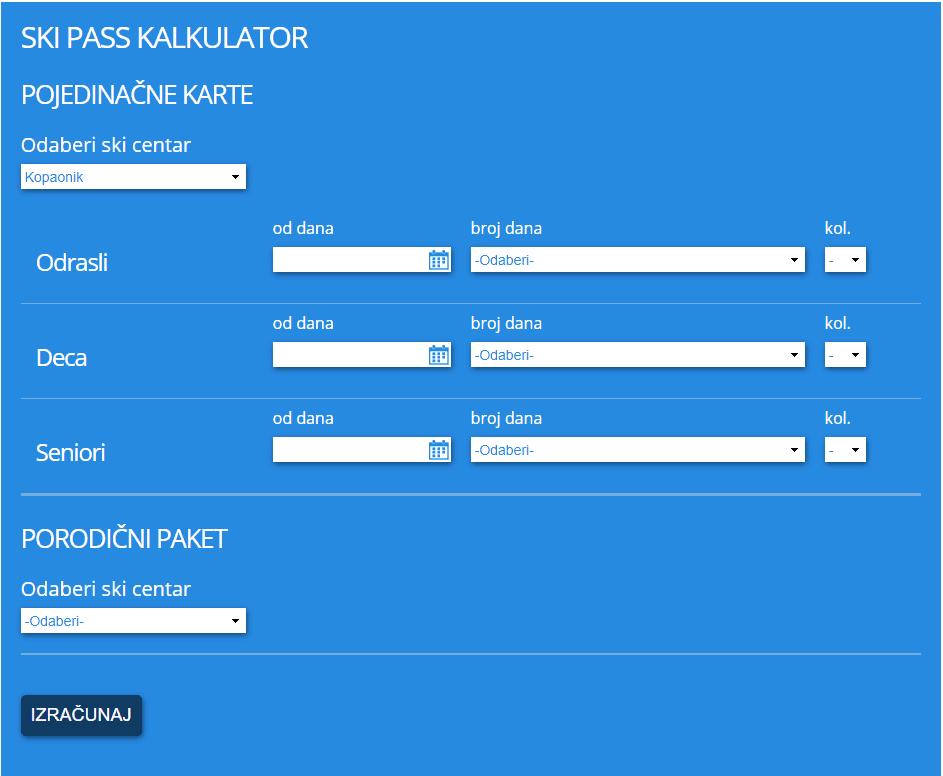 Koliko će Vas koštati Ski pass? JP Skijališta Srbije i ove godine su postavili kalkulator za izračunavanje cene Ski pass-a za Vas i Vašu porodicu. Na ovaj