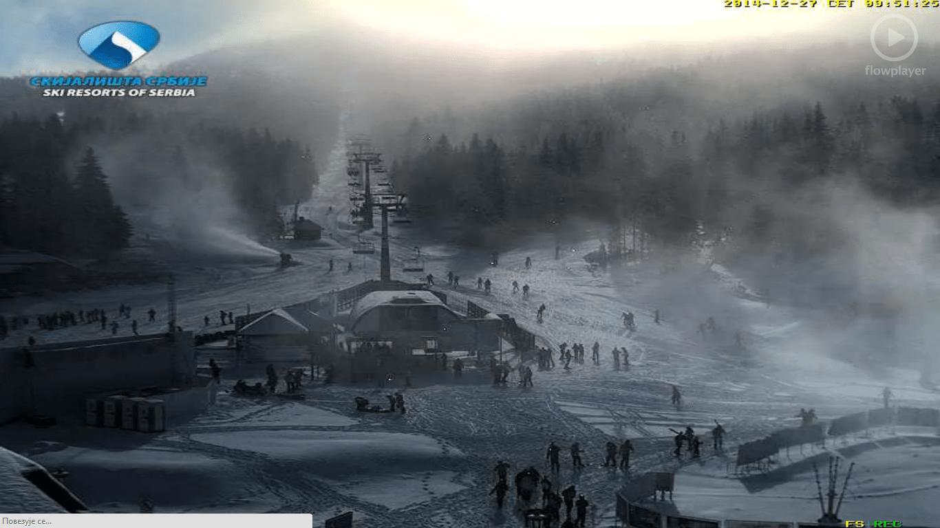 Izveštaj Kopaonik 27-12-2014: Danas (27.12.2014 god) na Kopaoniku preovlađuje pretežno vedro vreme. Trenutna temperatura -13 C, brzina vetra 4 m/s, vlažnost vazduha 91%, visina snežnog pokrivača van staza 20 cm, pritisak 819.6 hPa.