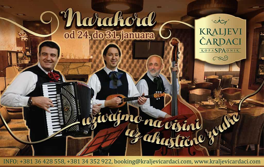 Pesme iz spomenara Kraljevi Čardaci: U ala cart restoranu Kraljevih Čardaka od 24. do 31.januara, uz najlepše starogradske pesme i odličnu atmosferu ansambl