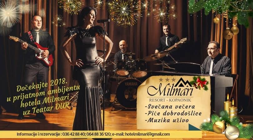 Hotel Milmari Vas poziva da najluđu noć u godini provedete na Kopaoniku, u prijatnom ambijentu hotela Milmari uz Teatar DUR. Hotel Milmari se nalazi u Viken