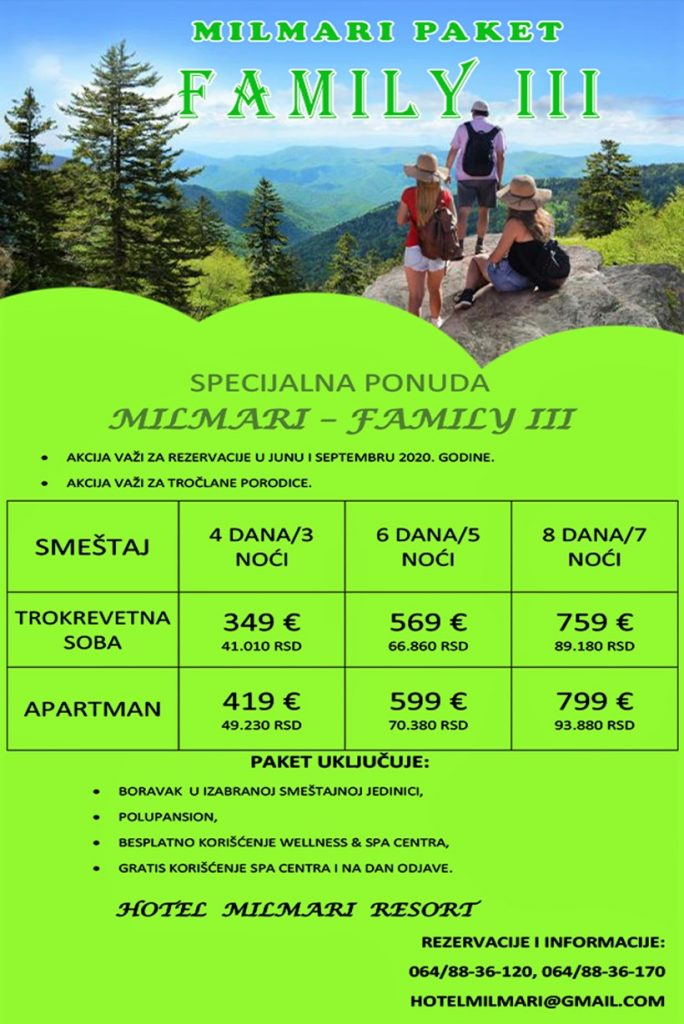 Milmari paket COUPLES, akcija za Jun i Septembar - HopNaKop Kopaonik